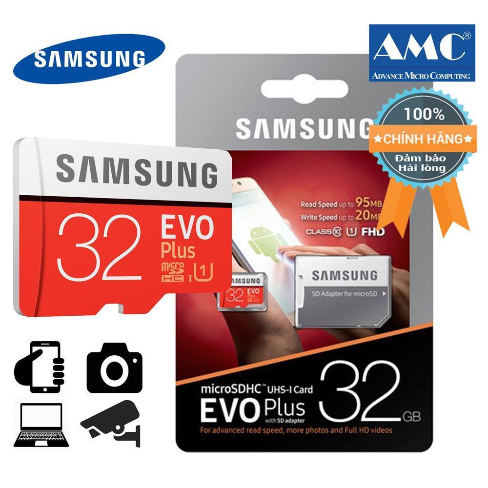 Giá Bán Thẻ Nhớ Microsd Samsung Evo Plus 32Gb Cho Điện Thoại May Ảnh Sieu Tốc Class 10 U1 Tốc Độ 95Mb S Tem Amc Bạc Đỏ Trực Tuyến Hồ Chí Minh