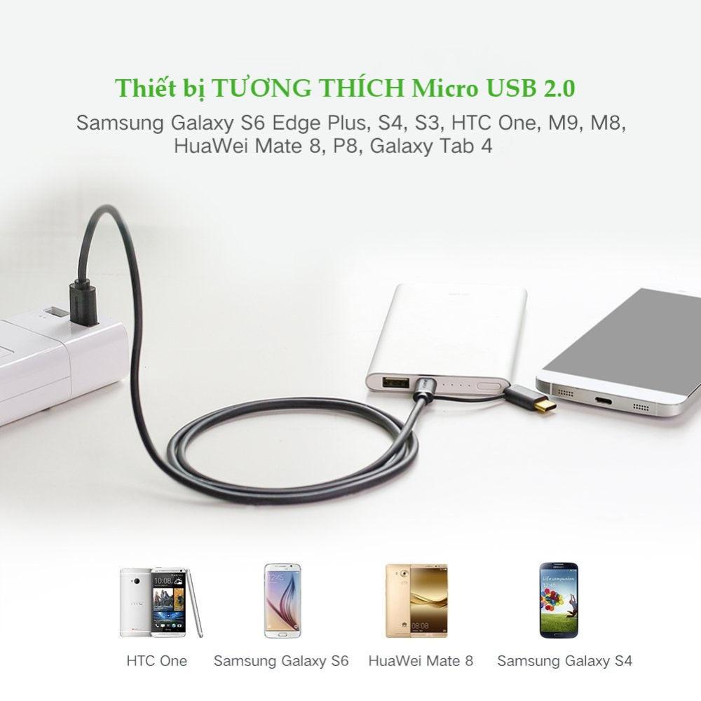 Dây USB đa năng 2 trong 1 đầu ra Micro-USB và USB Type C dài 0.25-2M UGREEN US142
