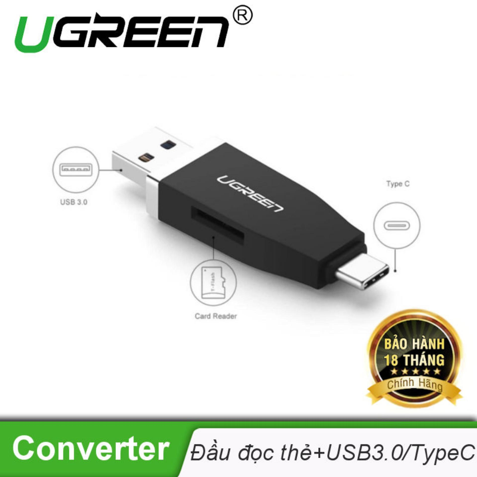 Đầu đọc thẻ nhớ 2 trong 1 USB 3.0 và USB Type-C UGREEN 30359 - Hãng phân phối chính thức