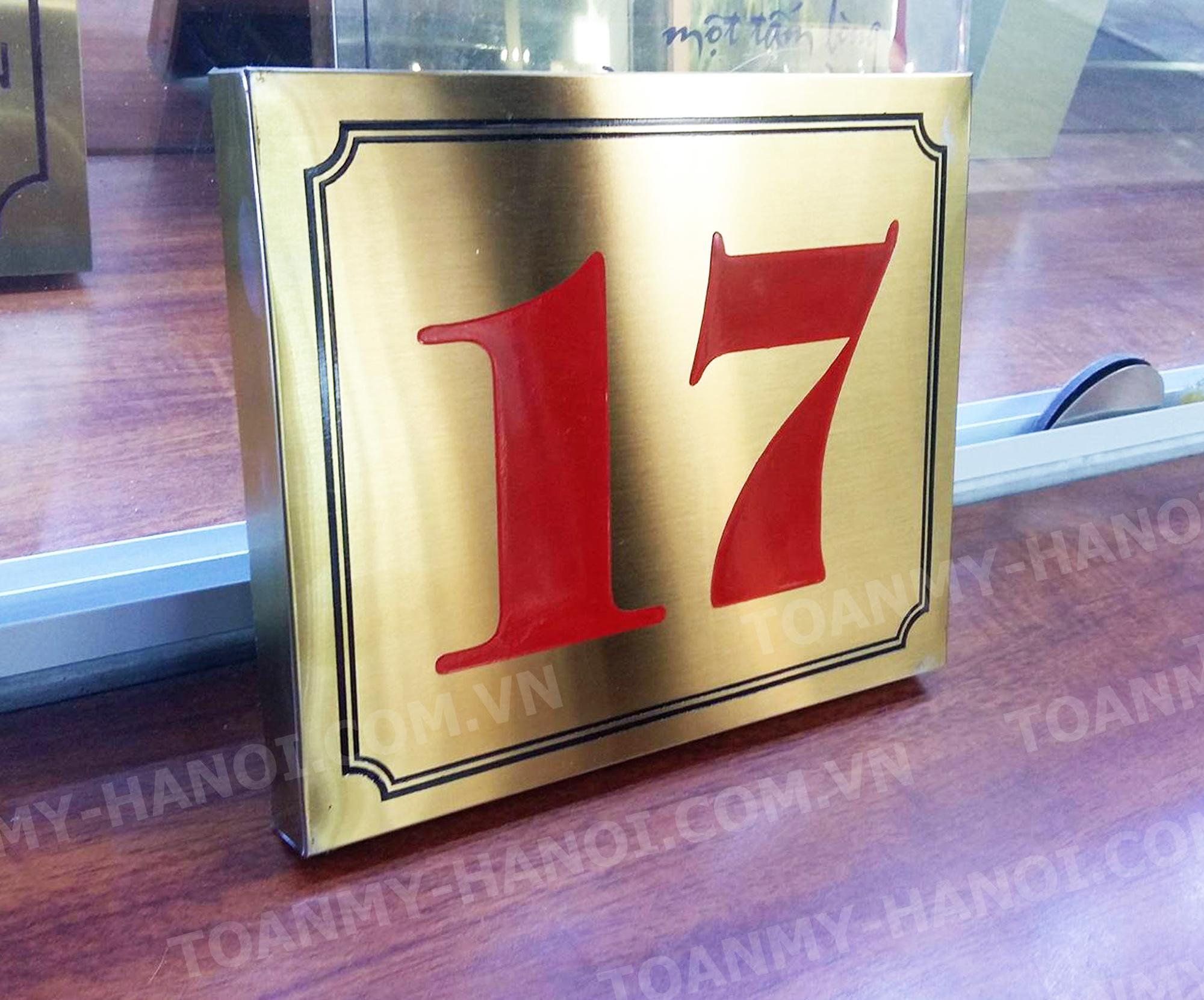 Biển số nhà Inox vàng mờ hoặc đồng-- KT: 20cm x 15cm