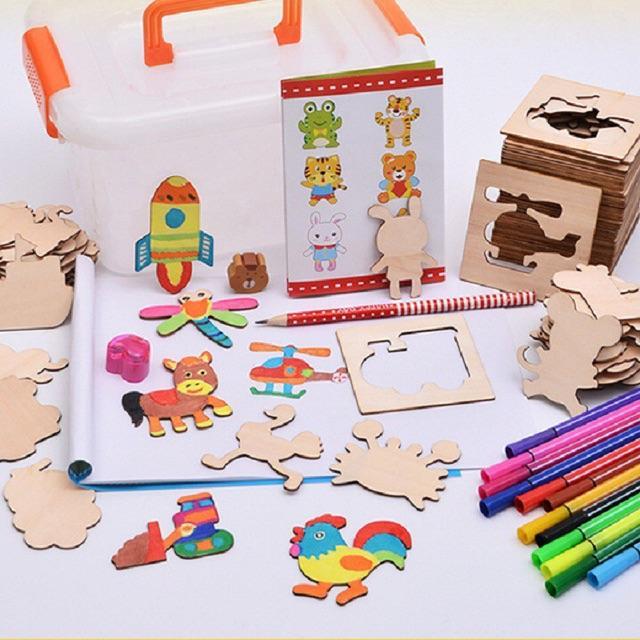Hình ảnh Bộ khuôn vẽ tranh và tô màu bằng gỗ cho bé