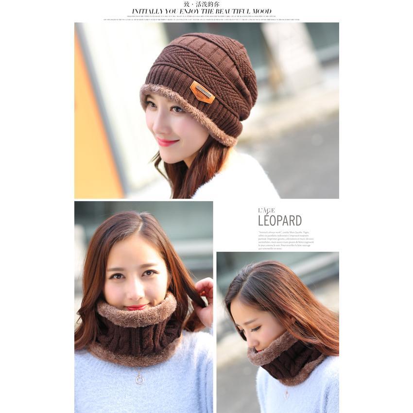 Mũ len kèm khăn lót nỉ siêu ấm, mũ len nam, mũ len nữ, mũ len đẹp, mũ len nữ hàn quốc, mũ len hàn qu