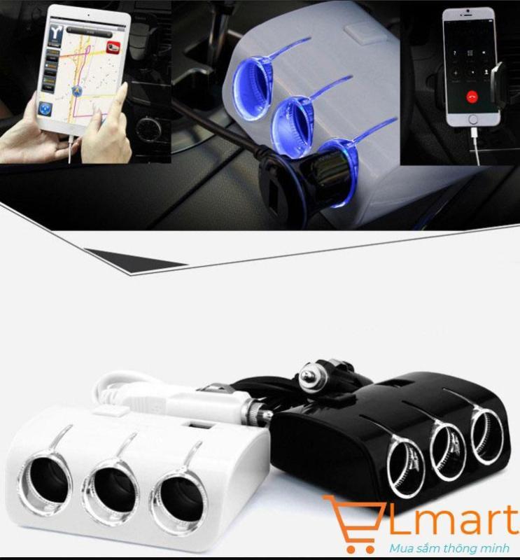 Bộ chia tẩu điện 12-24V sử dụng các thiết bị tiện ích kèm đèn led trên ô tô, xe hơi 2 cổng USB 5V sạc điện thoại, Ipad, Mp3 (Trắng)