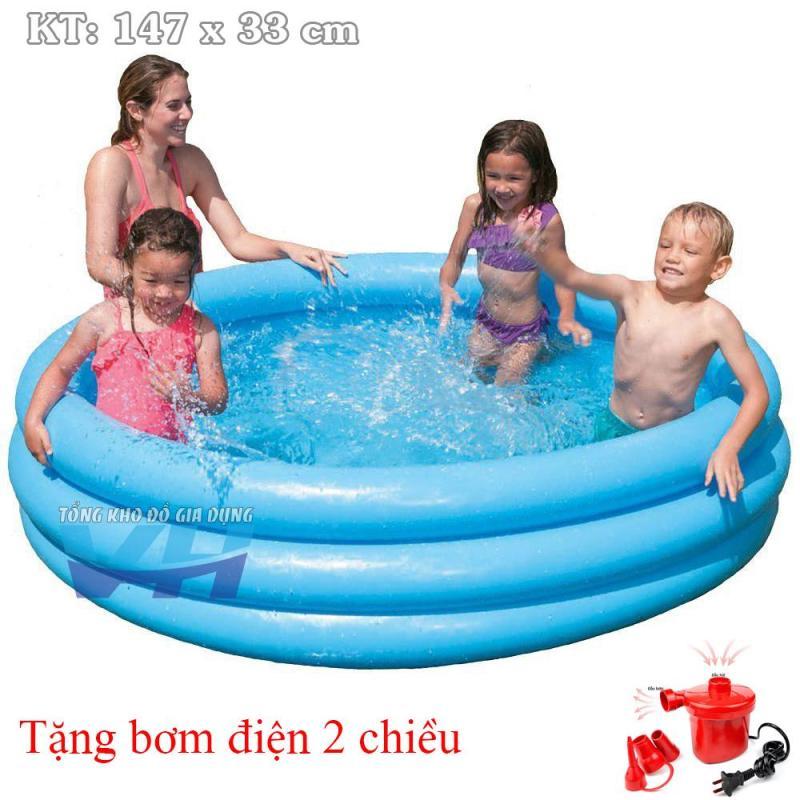 Intex 58426 - Bể cho trẻ nhỏ 3 tầng 147x33 cm + Bơm điện 2 chiều