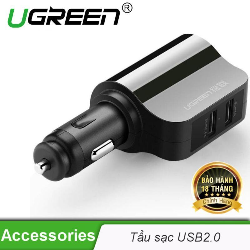 Sạc điện thoại/máy tính bảng 2 cổng USB 2.0 trên ô tô UGREEN CD115 20394 - Hãng phân phối chính thức