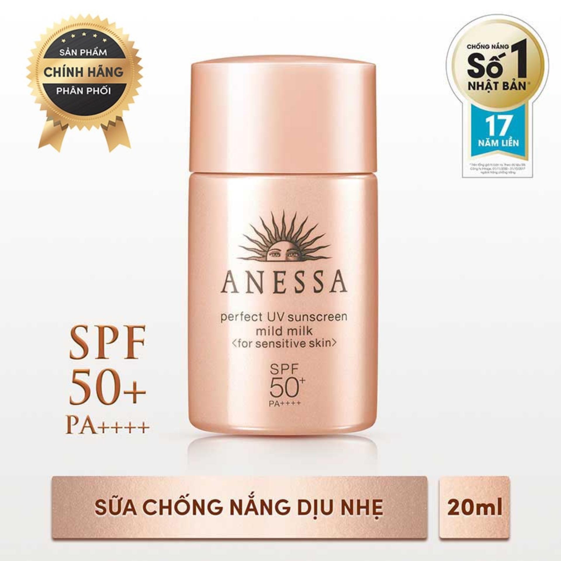 Sữa chống nắng dịu nhẹ cho da nhạy cảm Anessa Perfect UV Sunscreen Mild Milk - SPF50+, PA++++ - 20ml nhập khẩu