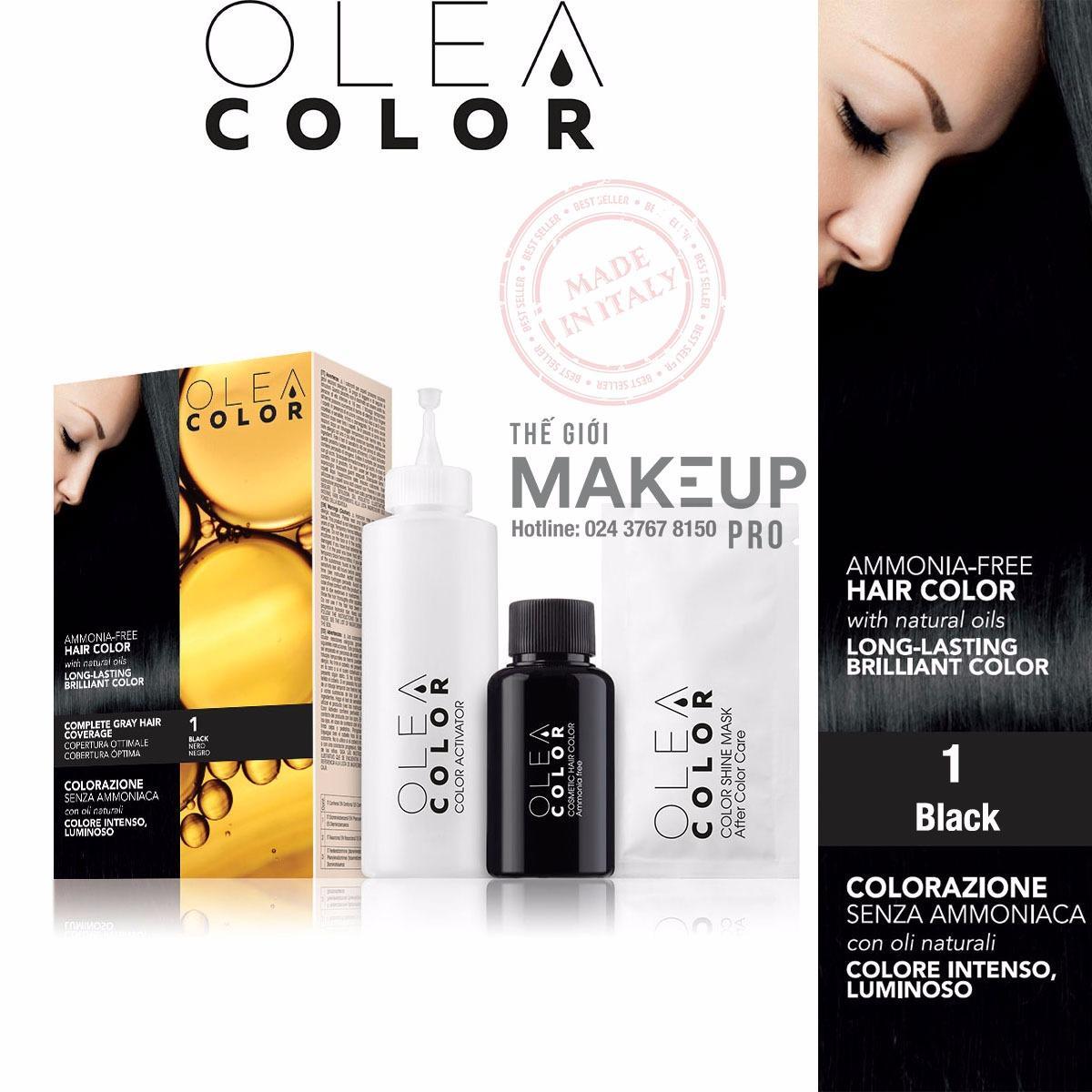 Hình ảnh Kem nhuộm dưỡng tóc không Amoniac Olea Color ITALY #1 Black