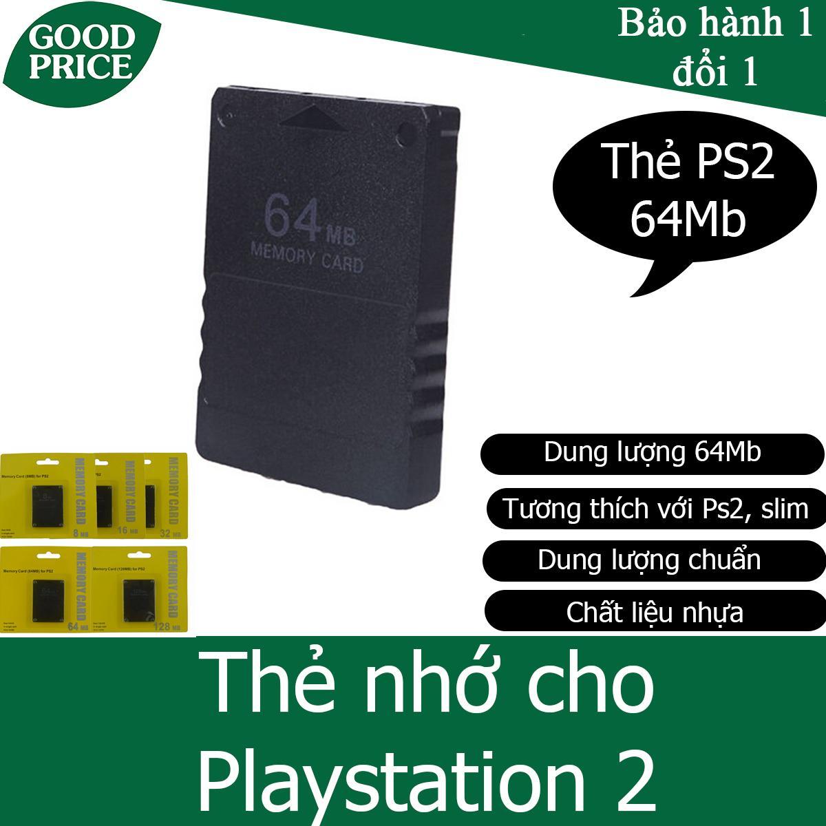 Thẻ nhớ cho máy chơi game Playstation 2, PS2 - dung lượng 64Mb