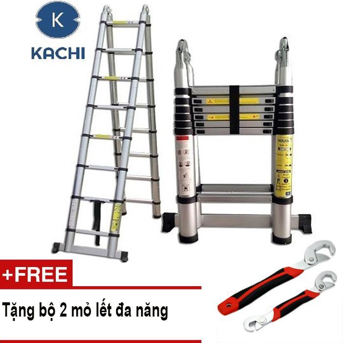 Thang nhôm rút chữ A 3m8 Kachi MK02 + Tặng 2 mỏ lết đa năng