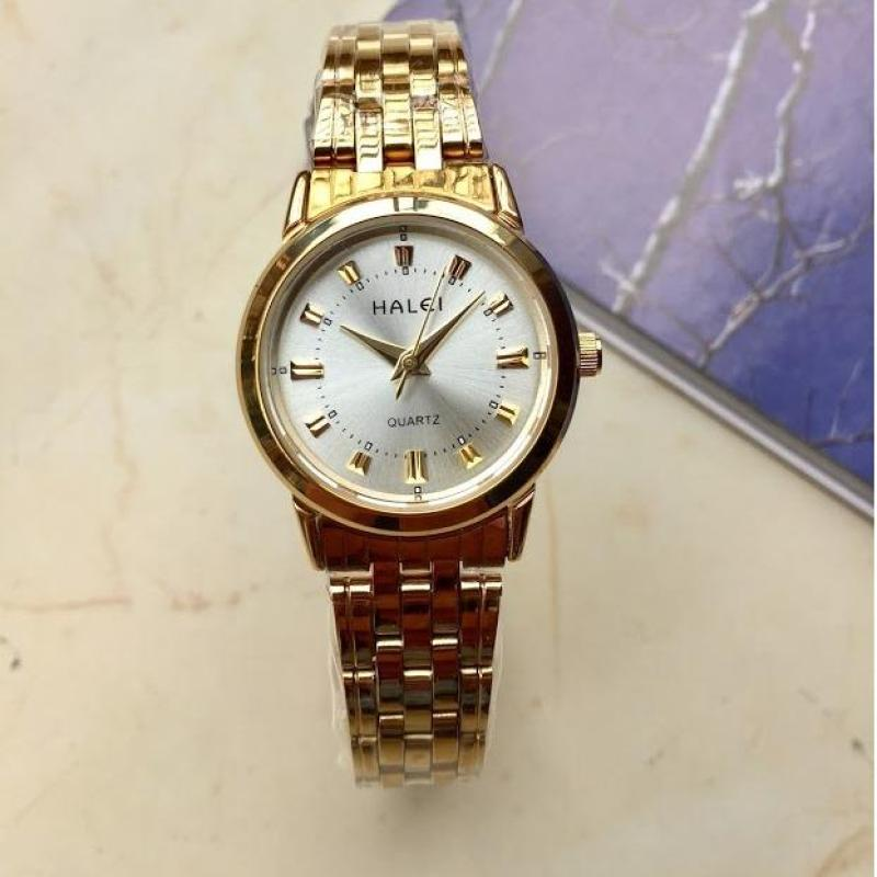 [SIÊU KHUYẾN MẠI] TẶNG PIN DỰ PHÒNG 100K- Đồng hồ nữ Halei 2V vàng mặt trắng