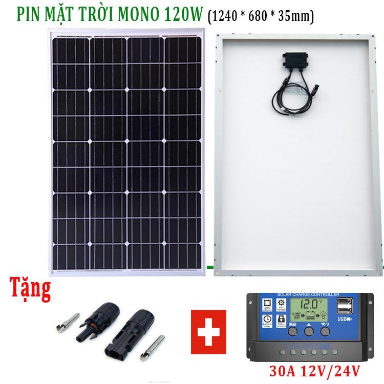 Tấm pin năng lượng mặt trời 120W Mono tặng điều khiển sạc