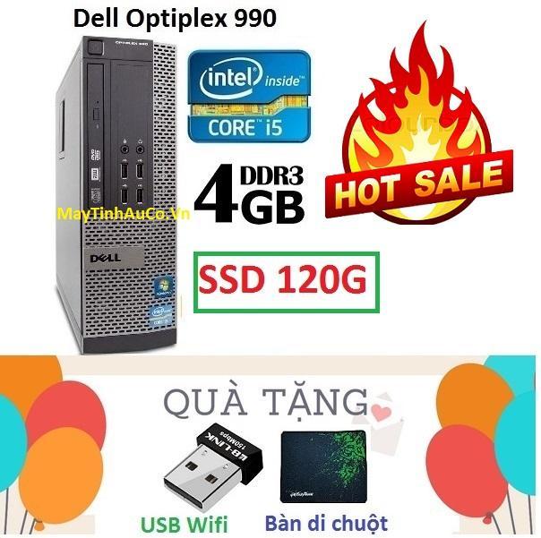Thùng Đồng Bộ Dell Optiplex 990 (Core i5 2400 / 4G / SSD 120G ), Tặng USB Wifi , Bàn di chuột , Bảo hành 02 năm - Hàng Nhập Khẩu