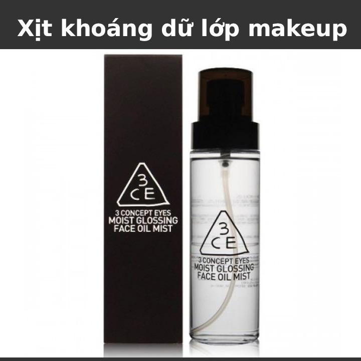 [Có Mã Giảm Giá] Xịt khoáng kiềm dầu 3CE Stylenanda Moist Glossing Face Oil Mist 140ml - Cấp ẩm, kiềm dầu, dữ lớp trang điểm lâu trôi - TinderShop
