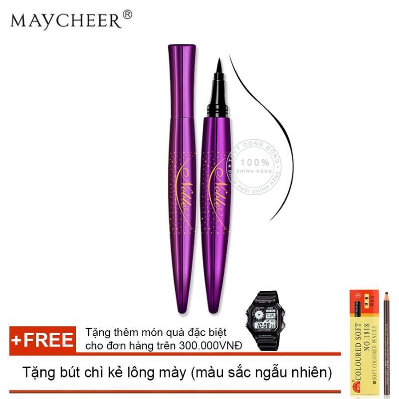 Bút lông kẻ mắt Maycheer+ Tặng bút chì kẻ lông mày ( Đơn hàng mỹ phẩm trên 300k tặng thêm 1 đồng hồ thể thao như quảng cáo )