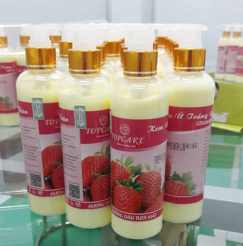Kem ủ trắng da toàn thân STRAWBERRY TOPCARE - Màu Đỏ (Hương Dâu)