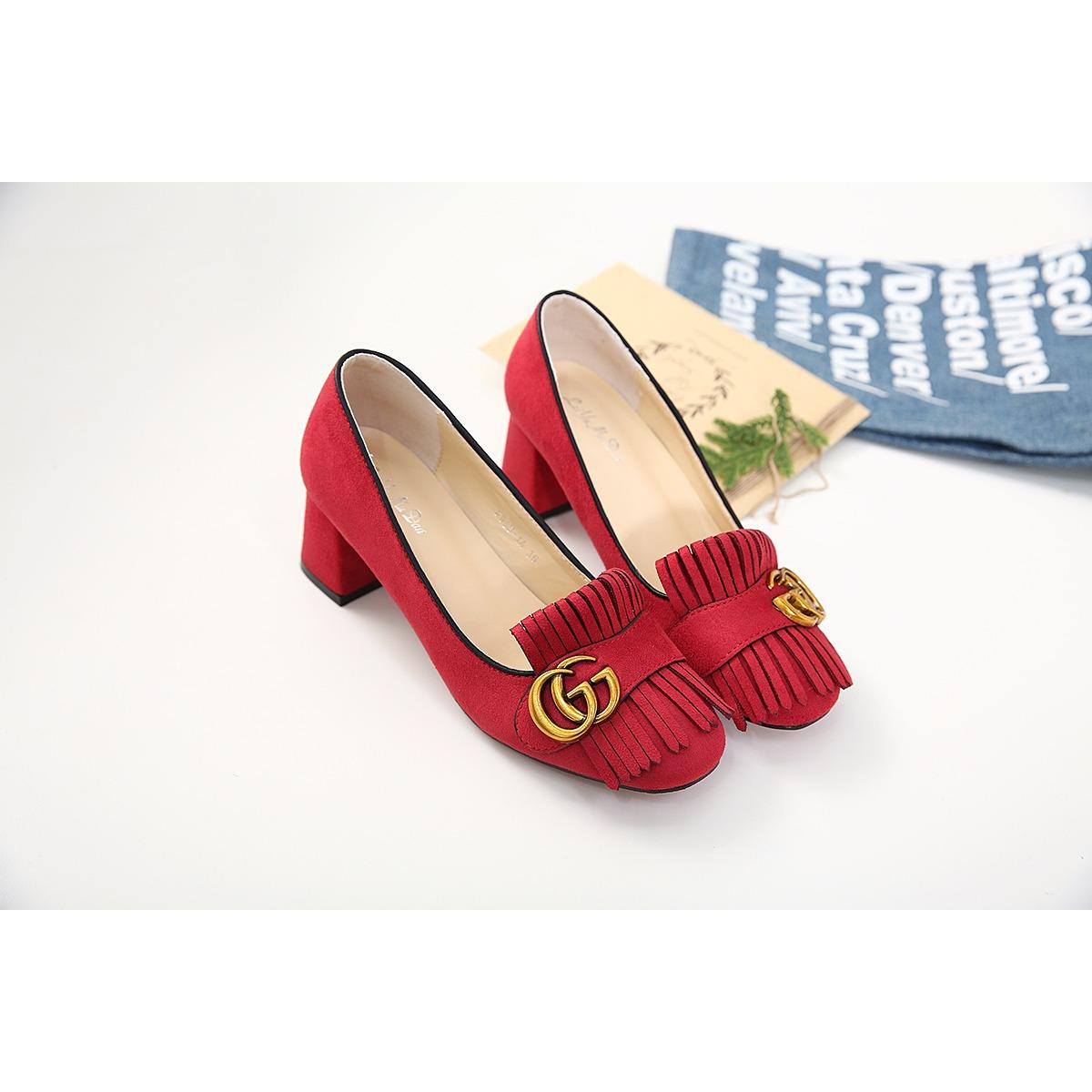 Giày đế thô da lộn Gucci TQXK_màu đỏ_f999-1a
