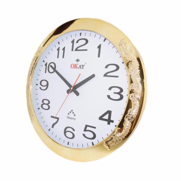 Đồng hồ treo tường OKAY 130 viền vàng họa tiết rồng uốn lượn 43cm bán chạy