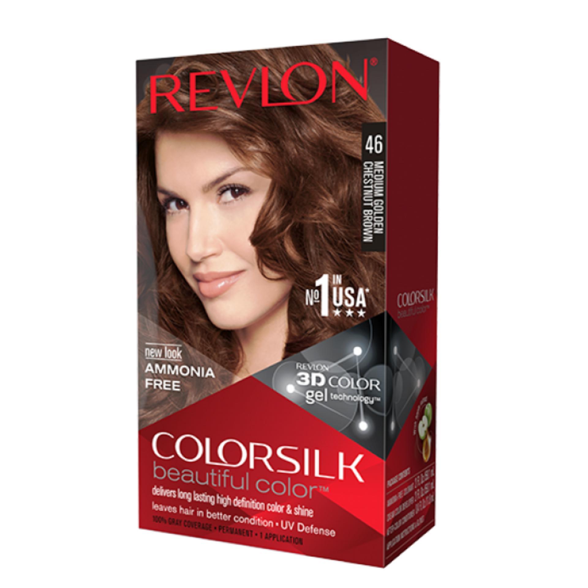 Thuốc nhuộm tóc Revlon No 1 in the USA ColorSilk 3D # 46 Nâu Hạt Dẻ + 01 nón trùm tóc