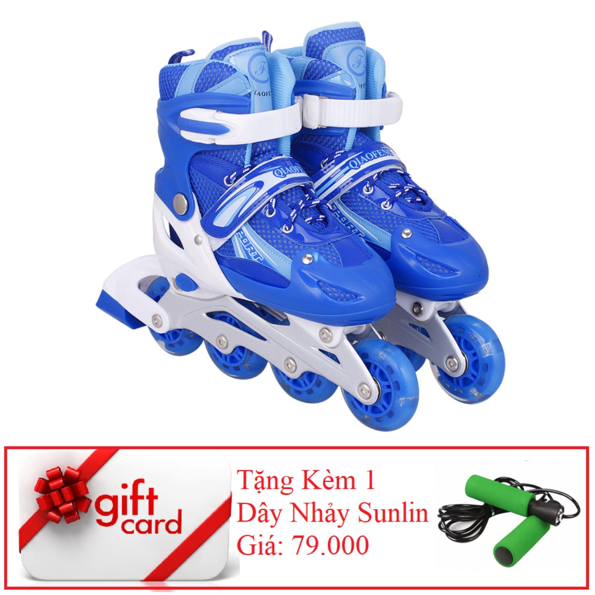 Giày Trượt Patin Gắn Đinh Phát Sáng Cao Cấp (Size L - Xanh Trắng) - TiGi Mall - Tặng Kèm 1 Dây Nhảy