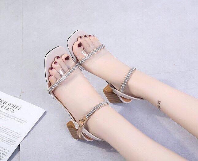 Giày cao gót vuông LT 5 phân bản trong phối dây xoàn Nhật Bản