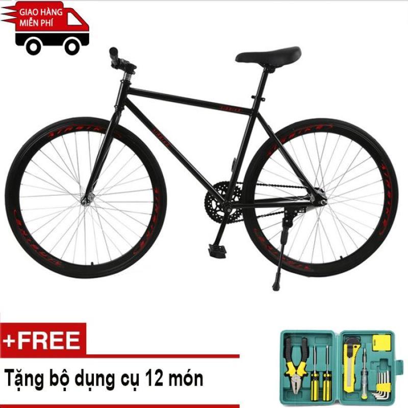 Phân phối Kachi - Xe đạp Fixed Gear Air Bike MK78 (đen) + Tặng bộ dụng cụ 12 món