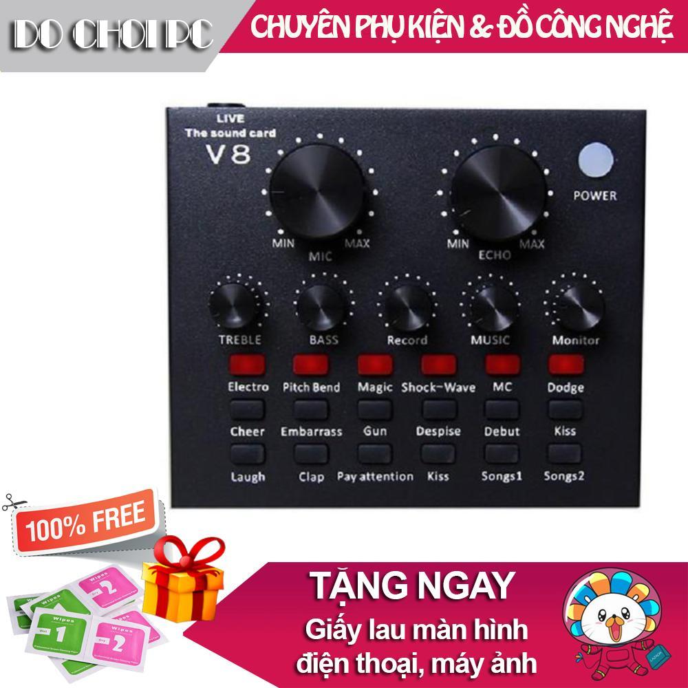 Giá Sound card thu âm V8 có AutoTone Chất Lượng Cao, Cao cấp hơn Card sound âm thanh 3D Taiwan 7.1, tiện ích hơn Loa Bluetooth P88 P89 NT88 Âm thanh cực chuẩn tặng kèm Micro hát Karaoke