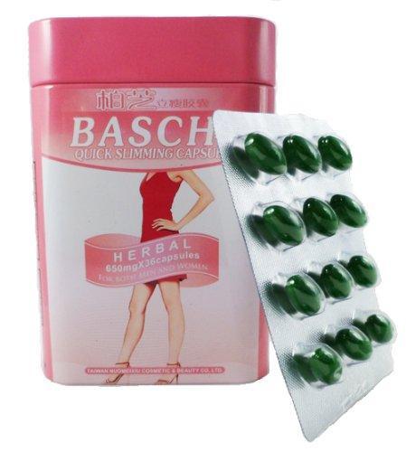 Viên uống giảm cân thảo dược Baschi hồng Thái Lan hộp thiếc 30 viên giúp eo thon, dáng đẹp