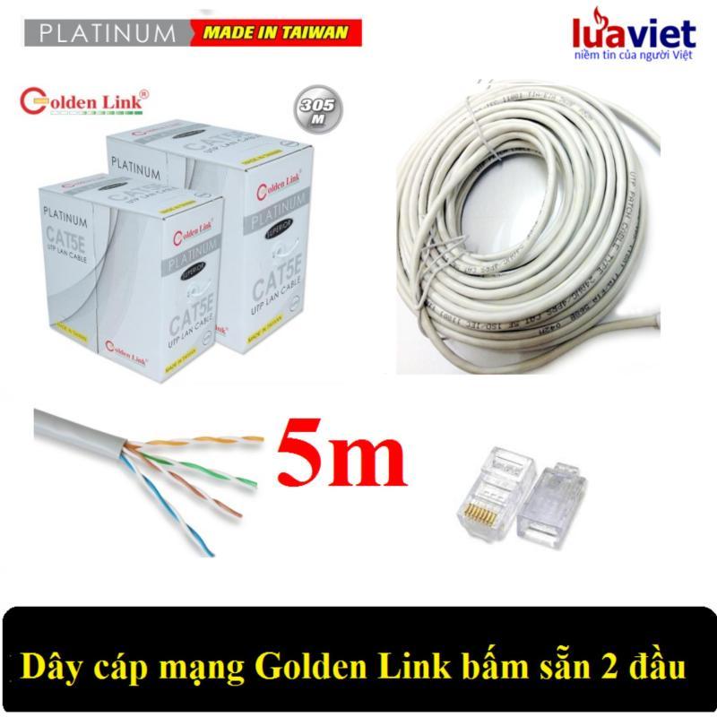 Bảng giá Dây cáp mạng Golden Link UTP Cat5E 2 đầu chống nhiễu 5m (Trắng) Phong Vũ