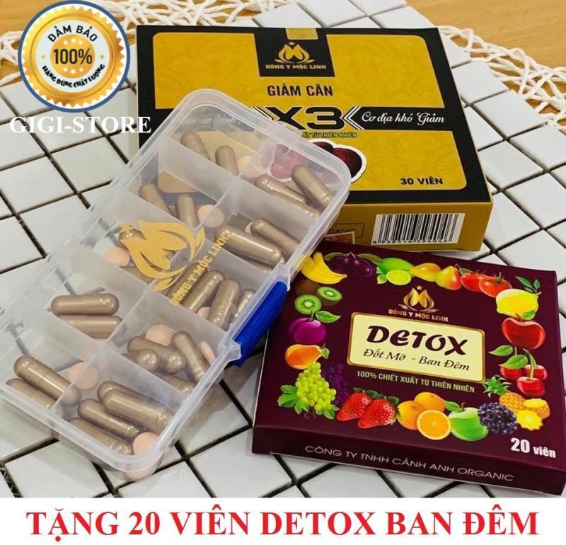 Giảm cân Đông y Mộc Linh X3 (30 viên) + Tặng kèm 1 hộp Detox ban đêm