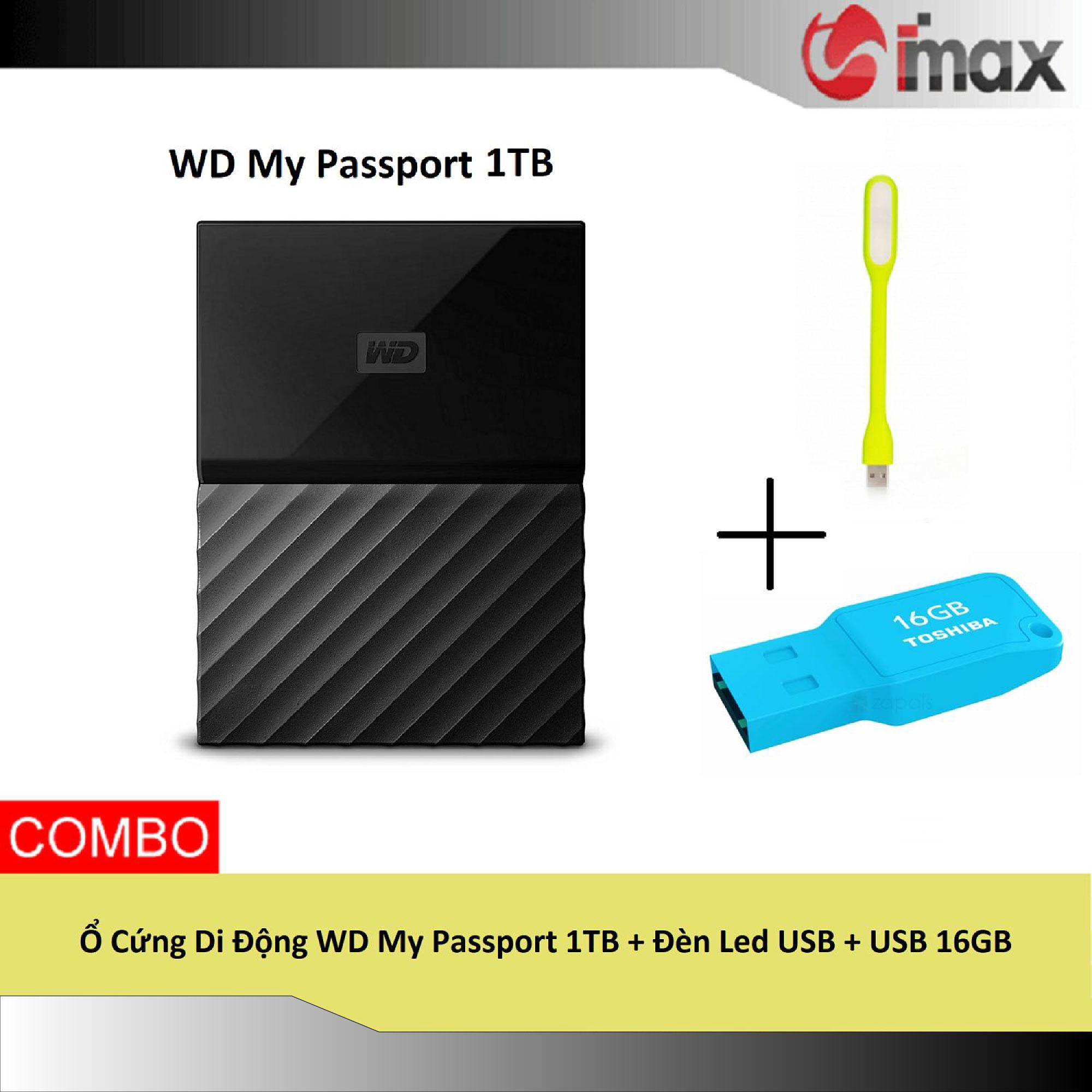Ổ Cứng Di Động WD My Passport HDD 1TB + Đèn Led USB + USB 16GB