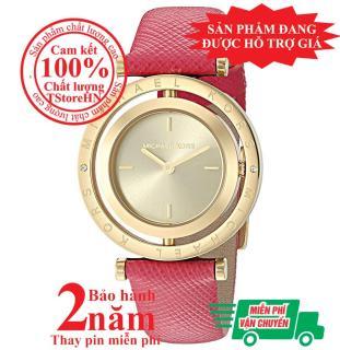 Đồng hồ nữ MK MK2525, Vỏ và Mặt đồng hồ màu Vàng (Gold), mặt xoay, size 33mm, Dây da màu hồng đậm-MK2525 thumbnail