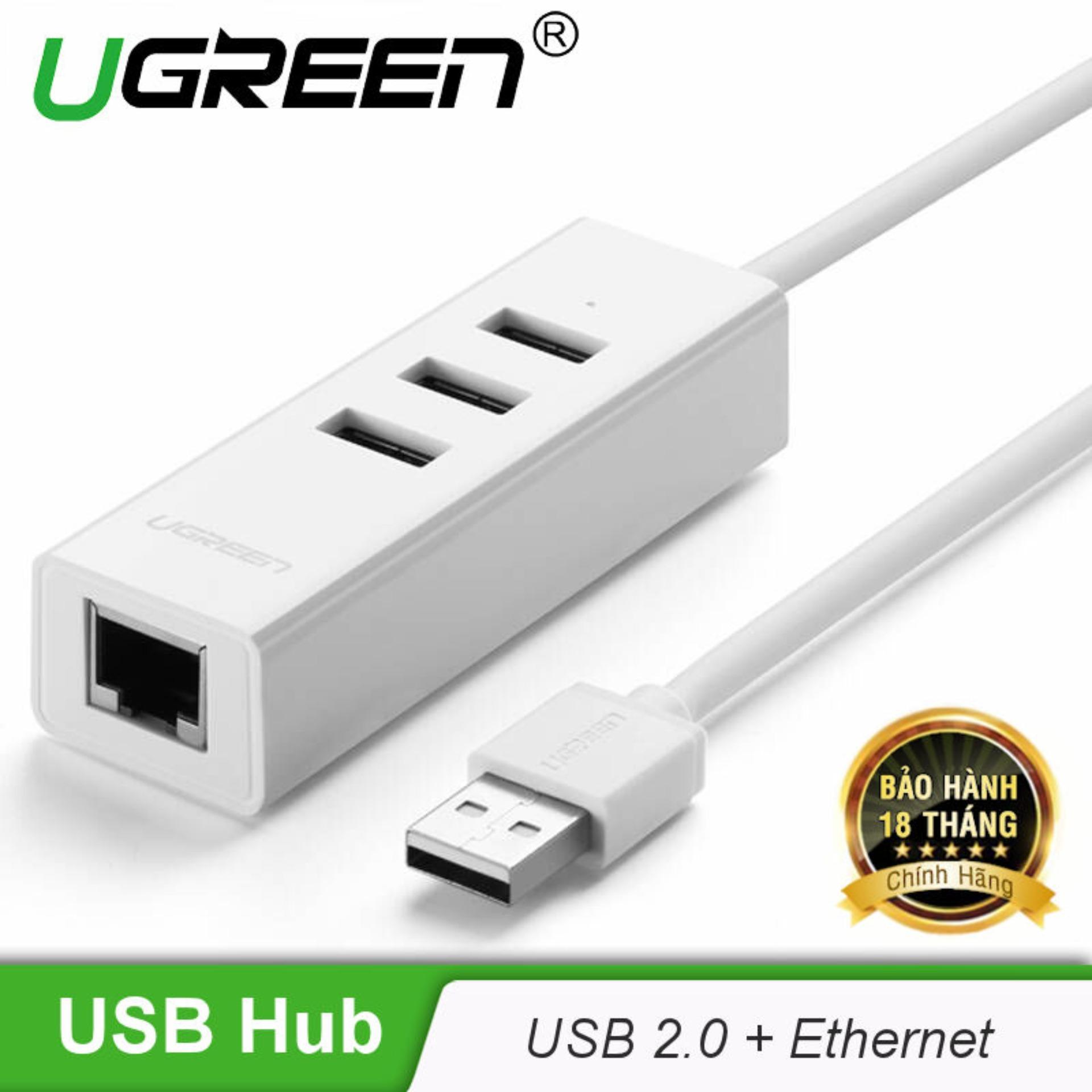 Hình ảnh Bộ chia 3 cổng USB 2.0 kèm cổng mạng Ethernet 10/100Mbps dài 20cm Ugreen CR129 30297 - Hãng phân phối chính thức