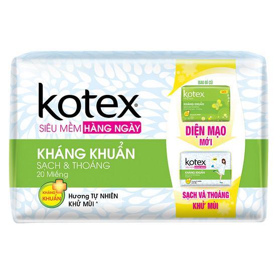 Combo 04 gói Kotex Hàng Ngày Hương Tự Nhiên KK (Gói 20 miếng) nhập khẩu