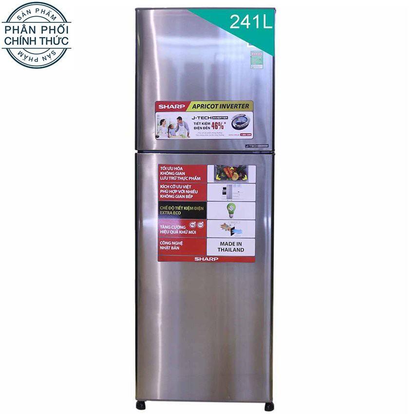 Hình ảnh Tủ lạnh Sharp Apricot SJ-X251E-SL 241L (Bạc)