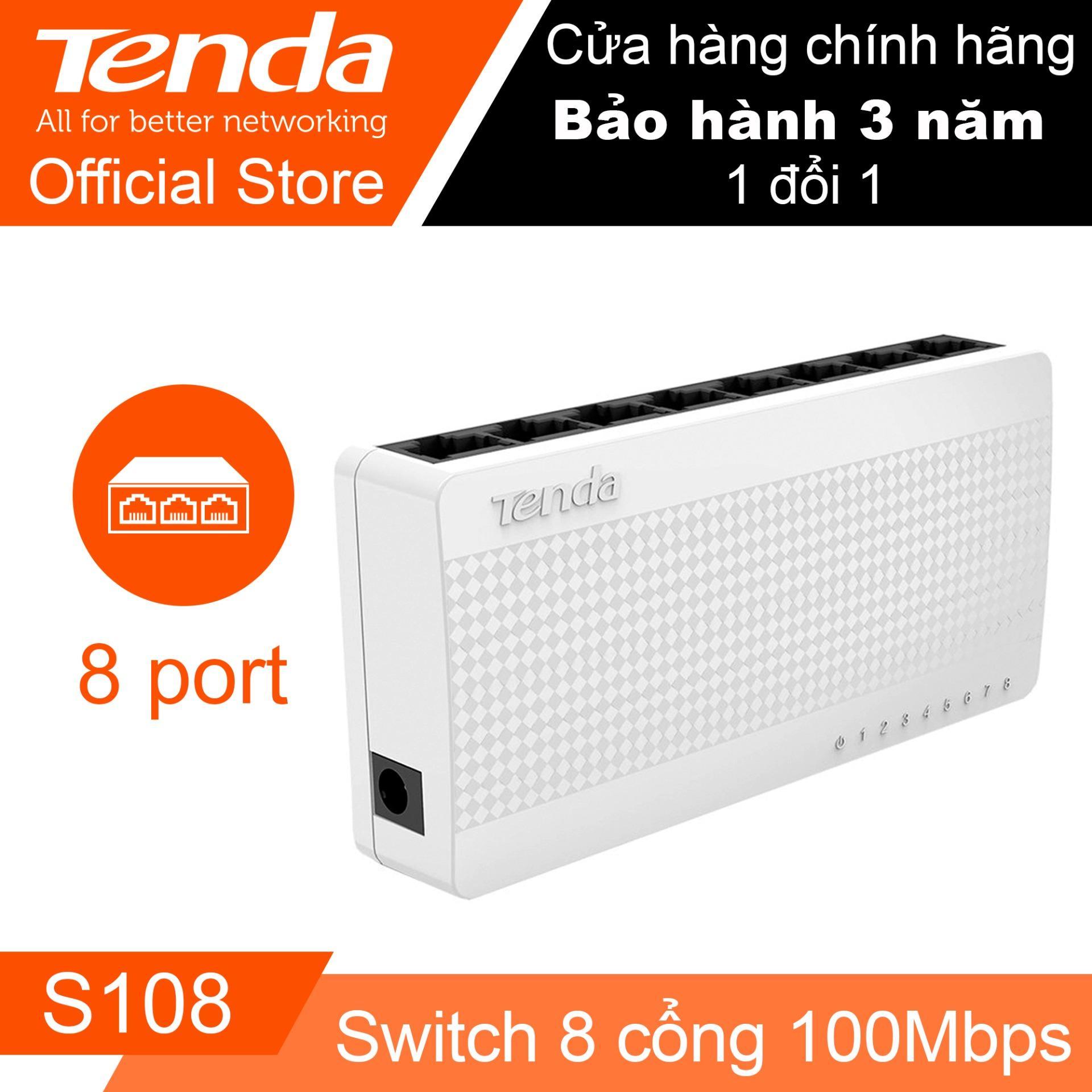 Hình ảnh Thiết bị Switch TENDA S108 – Desktop 8 cổng (Trắng) - Hãng Phân phối chính thức