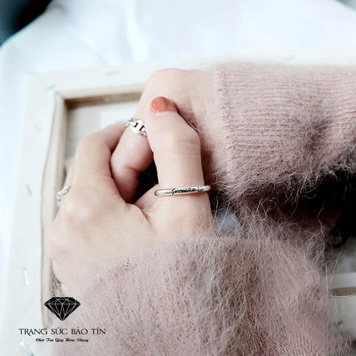 Nhẫn Nữ, Nhẫn Nữ Đẹp, Nhẫn Đẹp, Nhẫn Bạc, Nhẫn Bạc Nữ, Nhẫn Nữ Smile Chất Liệu Bạc Ta Cao Cấp - Bảo Tín