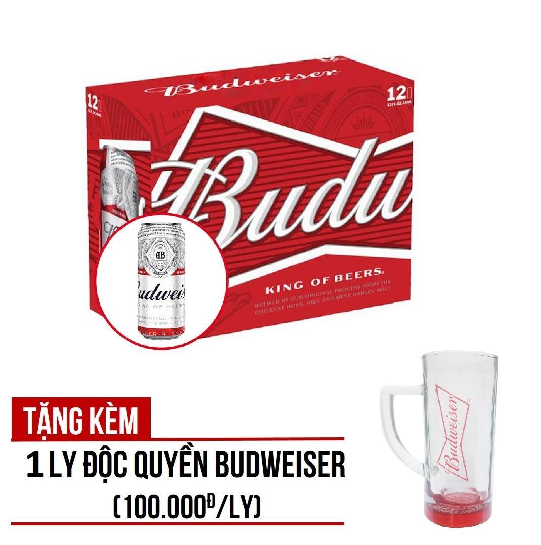 Budweiser lon 500ml - Thùng 12 lon - Tặng kèm 01 ly Budweiser