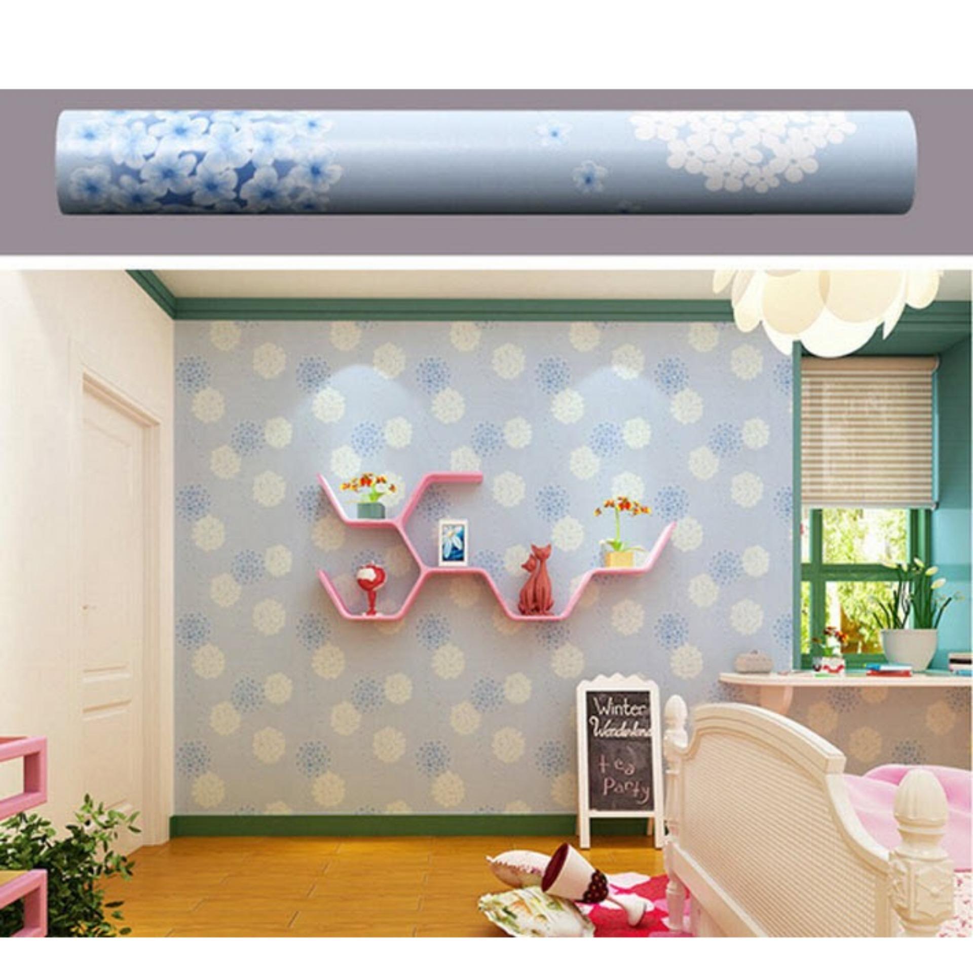 5m vuông Giấy dán tường phong cách Hàn Quốc khổ rộng 45cm Tú cầu  xanh 5283