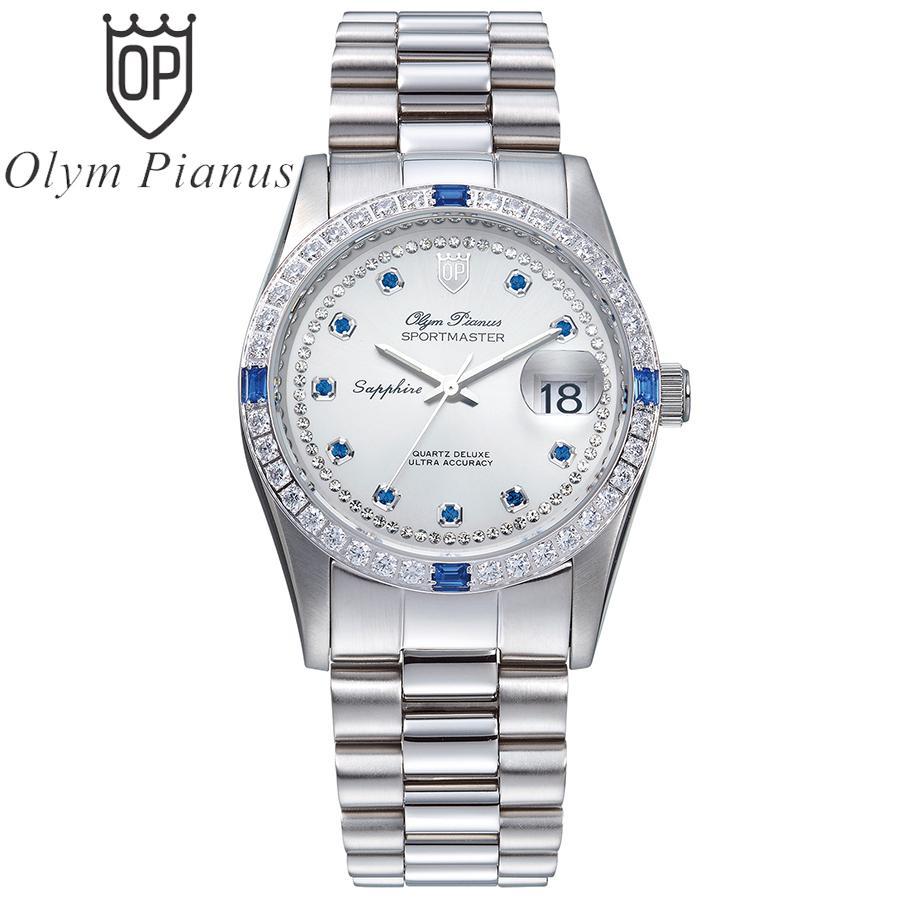 Nơi bán Đồng hồ nam mặt kính sapphire Olym Pianus OP89322DW trắng hạt xanh