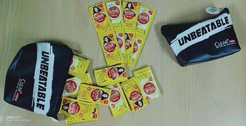 Set 40 gói dầu gội, dầu xả Sunsilk mềm mượt diệu kỳ 6g + tặng 1 túi đựng mỹ phẩm giá rẻ