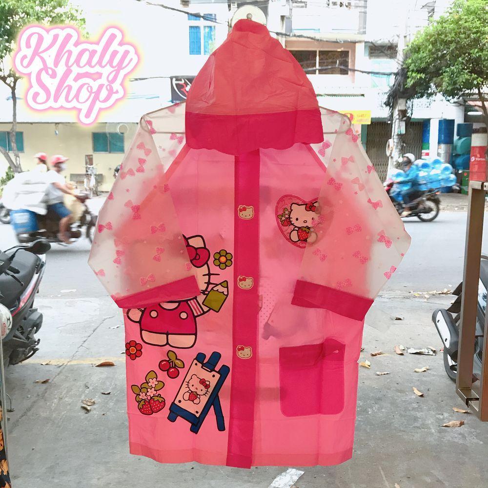 Hình ảnh Áo mưa hình mèo Kitty màu hồng kèm túi xách 2 quai dành cho trẻ em có nhiều size (S-M-L-XL-XXL) - 40KTAM2QT152