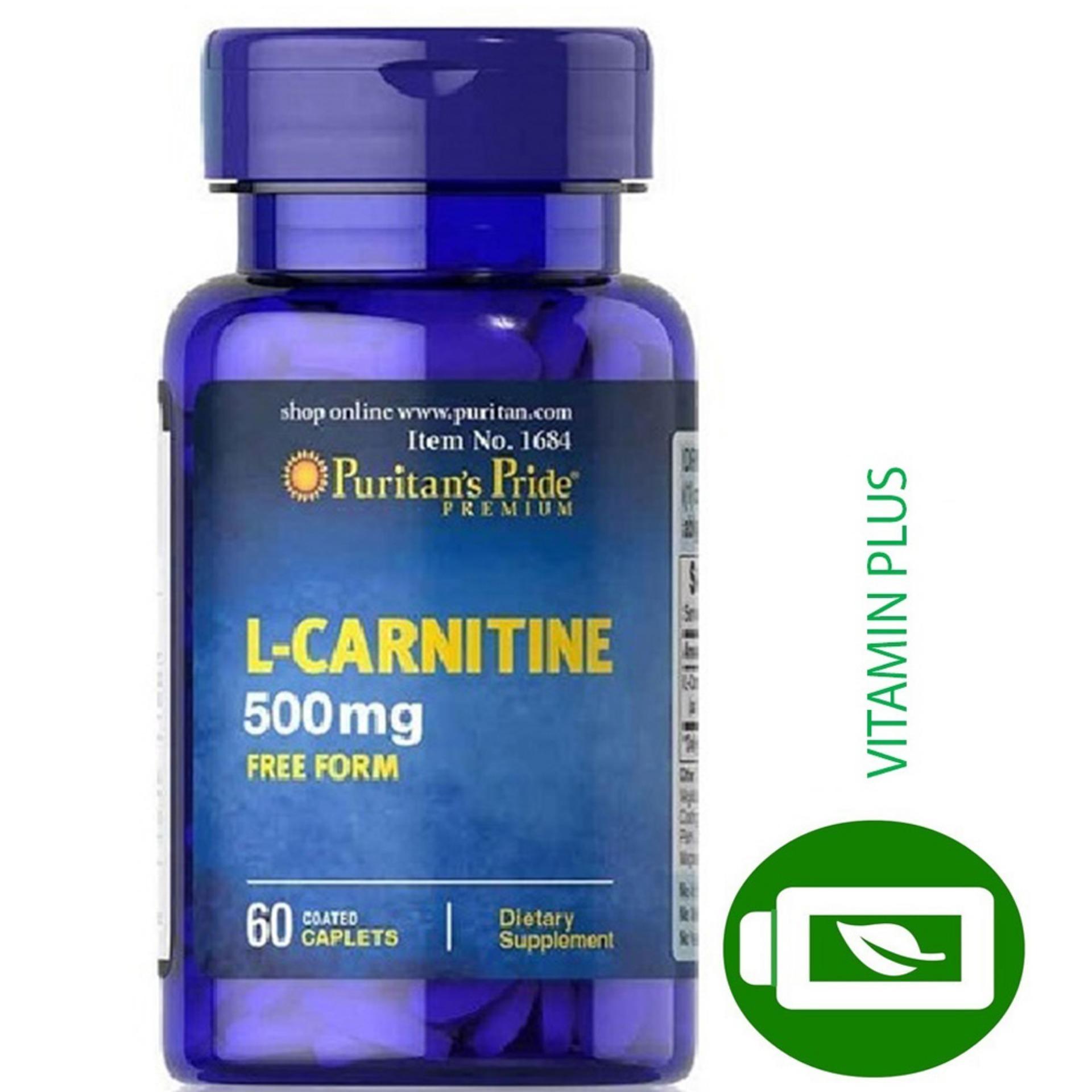 Viên uống hỗ trợ giảm cân, không tác dụng phụ, ngăn tích tụ chất béo giúp cơ thể săn gọn, tăng sức khỏe và sức bền, bổ thận Puritans Pride L-Carnitine 500mg 60 viên HSD tháng 3/2021 nhập khẩu