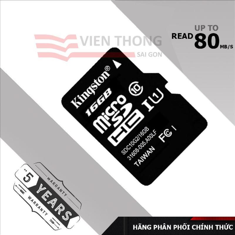 Thẻ nhớ 16gb Kingston Micro SDHC Class10 (Đen) - Chính Hãng phân phối