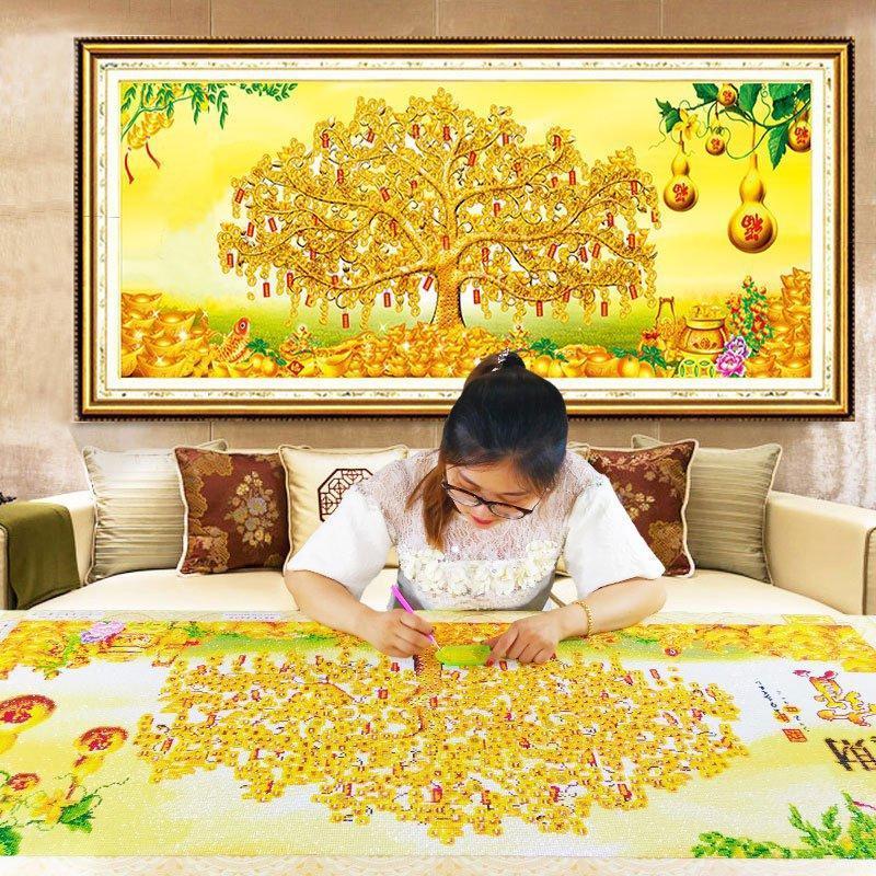 Tranh đính đá Kim Cương Abc Phát Tài Thịnh Vượng-Cây Tiền Vàng Yn2098 By Mariko.