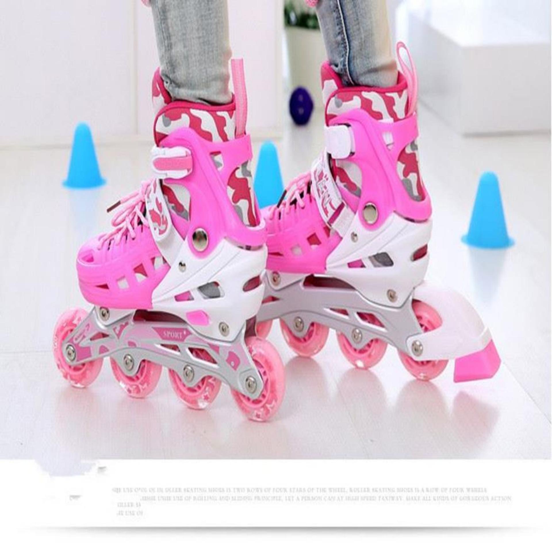 Giày Nhập Khẩu,Đôi Giày Trượt Patin,Giày Patin Trẻ Em Tặng Mũ Và Đồ Bảo Hộ,Thiết Kế Ôm Chân, Chắc Chắn, Kiểu Dáng Trẻ Trung Giúp Cho Người Chơi Cảm Giác Đôi Chân Thoải Mái Khi Trượt