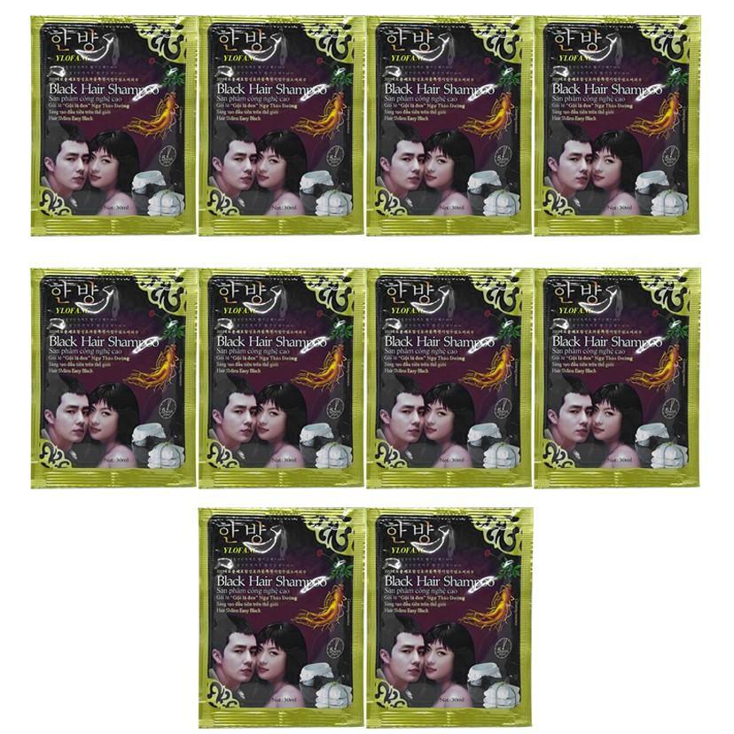 Combo 10 gói dầu gội nhuộm tóc black hair shampoo Hàn Quốc 30ml (Nhuộm đen)