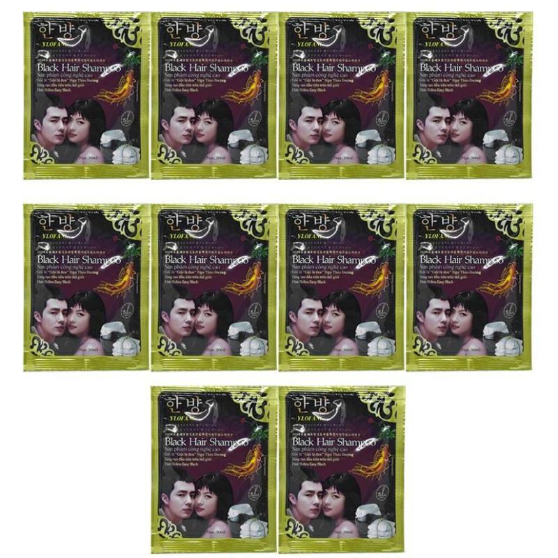 Combo 10 gói dầu gội nhuộm tóc black hair shampoo Hàn Quốc 30ml (Nhuộm đen) giá rẻ