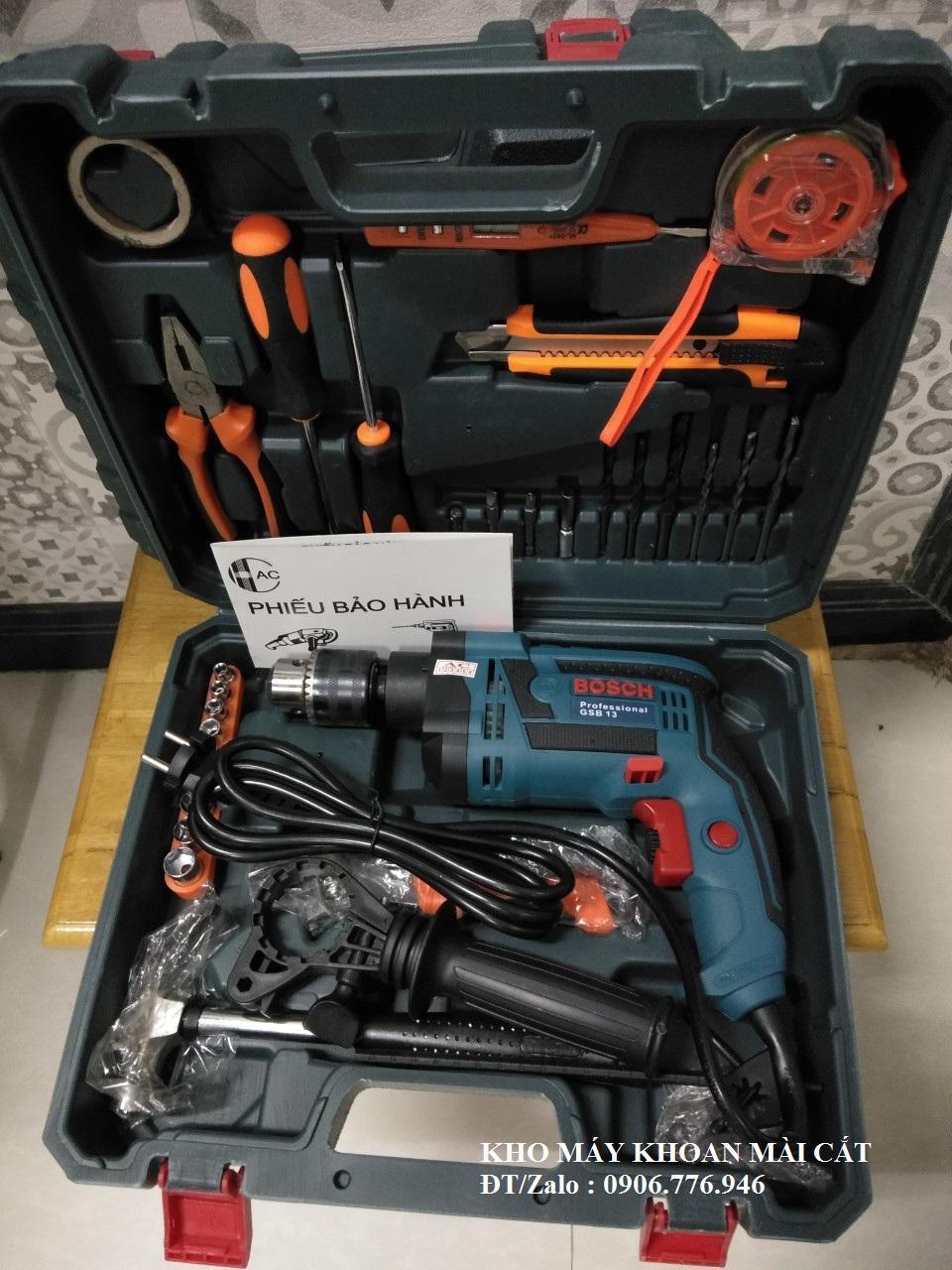 Vali máy khoan tường Bosch 13RE kèm 30 món đồ nghề sửa chữa đa năng kềm búa tuốc nơ vít