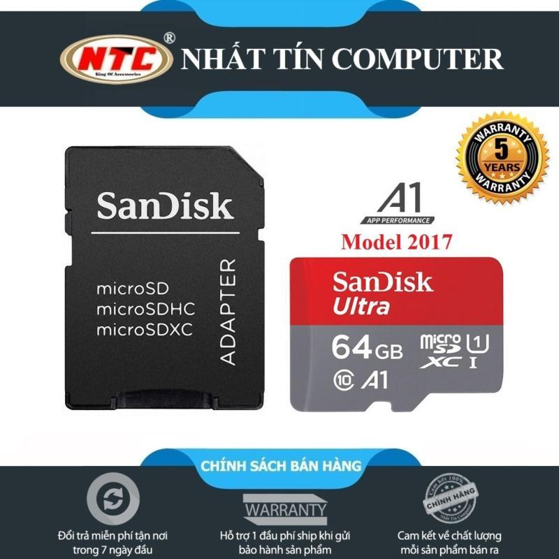 Thẻ nhớ MicroSDXC SanDisk Ultra A1 64GB Class 10 U1 100MB/s kèm adapter - Model 2017 (Xám đỏ)