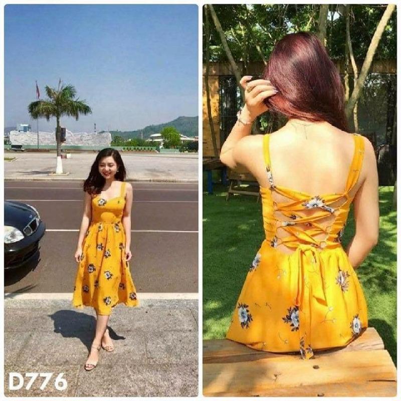 Nơi bán D776 - Đầm hoa vàng đan dây lưng